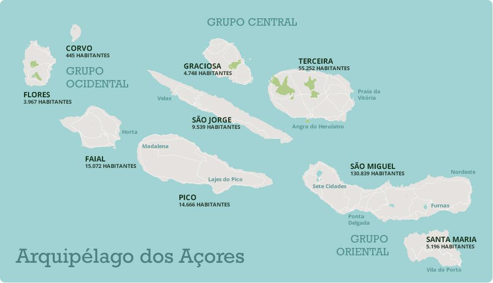 mapa dos açores com escala Açores mapa dos açores com escala