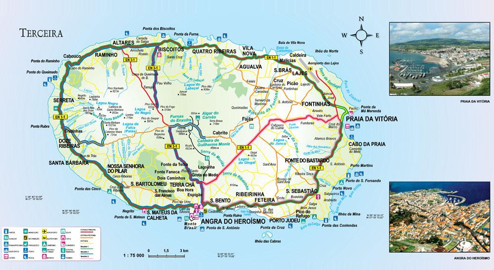 ilha terceira mapa Terceira ilha terceira mapa